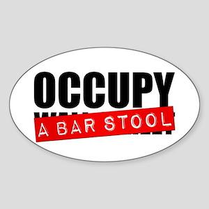 Occupy A Bar Stool Oval Sticker