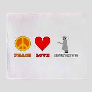 Peace Love Cowboys Throw Blanket