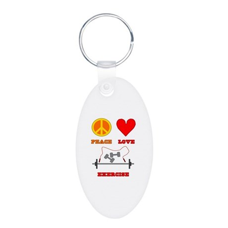 Peace Love Exercise Aluminum Oval Keychain