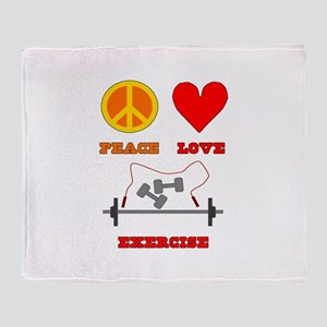 Peace Love Exercise Throw Blanket