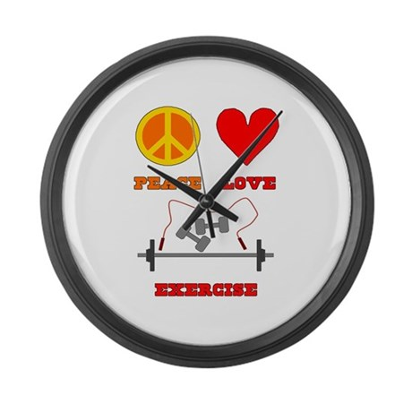Peace Love Exercise Large Wall Clock