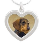 Dachshund (Wirehaired) Silver Heart Necklace