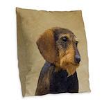 Dachshund (Wirehaired) Burlap Throw Pillow