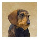Dachshund (Wirehaired) Square Car Magnet 3