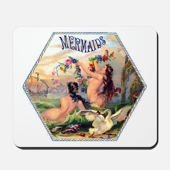 Mermaids Cigar Label Mousepad