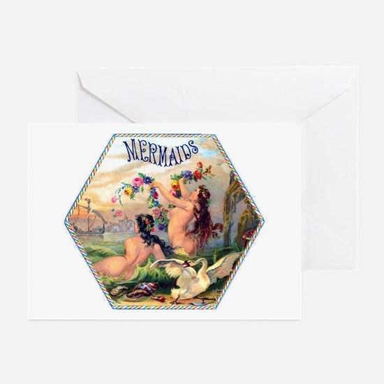 Mermaids Cigar Label Greeting Cards (Pk of 10)