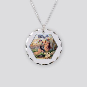 Mermaids Cigar Label Necklace Circle Charm