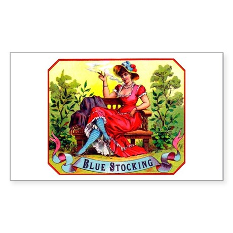 Blue Stockings Cigar Label Sticker (Rectangle)