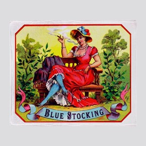 Blue Stockings Cigar Label Throw Blanket