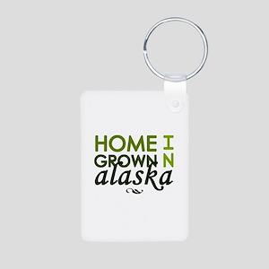 'Home Grown In Alaska' Aluminum Photo Keychain