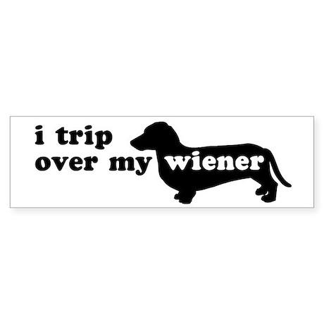 Wiener Tripping Bumper Sticker