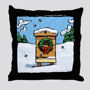 Christmas Bees Throw Pillow