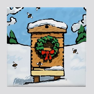 Christmas Bees Tile Coaster