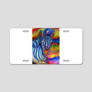 Zebra, bright, art, Aluminum License Plate