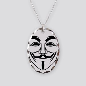 Anonymous Mask Necklace Oval Charm