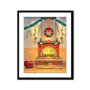 Christmas Fireplace Framed Panel Print