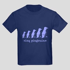 5 Penguins (blue) Kids Dark T-Shirt