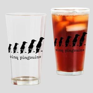5 Penguins Drinking Glass