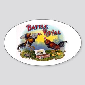 Rooster Fight Cigar Label Sticker (Oval)