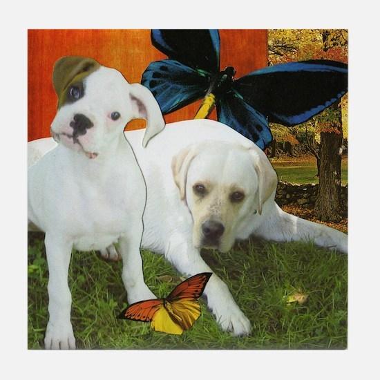 Boxer and Labrador Retriever Tile Coaster