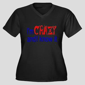 Crazy and I Know It Women's Plus Size V-Neck Dark