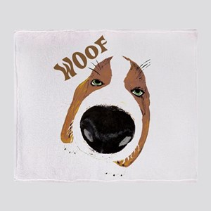 Big Nose Says Woof Throw Blanket