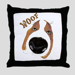 Big Nose Says Woof Throw Pillow