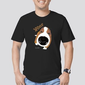 Big Nose Says Woof Men's Fitted T-Shirt (dark)