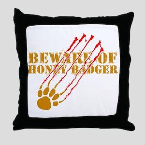 New SectionBeware of honey ba Throw Pillow