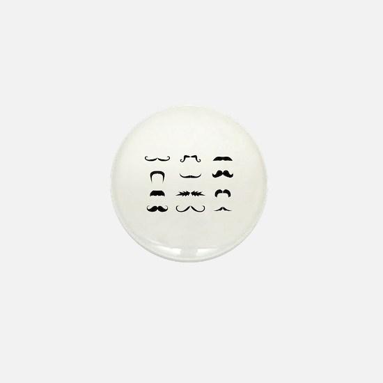 Moustache collection Mini Button (10 pack)