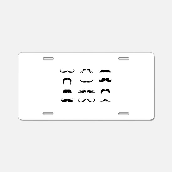 Moustache collection Aluminum License Plate