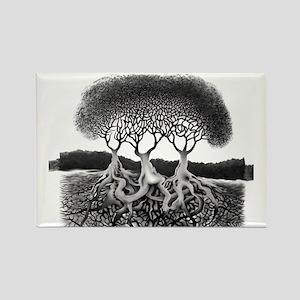 Three Tree Rectangle Magnet