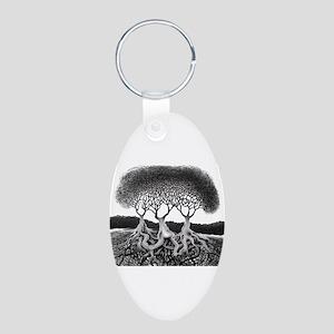 Three Tree Aluminum Oval Keychain