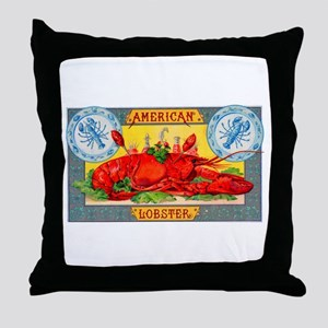 American Lobster Cigar Label Throw Pillow