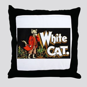 White Cat Cigar Label Throw Pillow