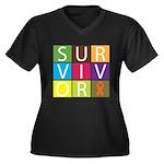 COPD Survivor Color Block Women's Plus Size V-Neck