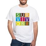 COPD Survivor Color Block White T-Shirt