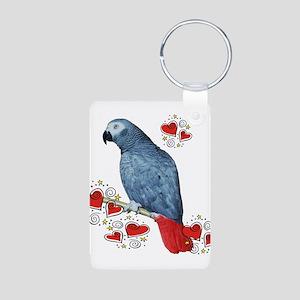 African Grey Parrot Aluminum Photo Keychain