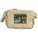 Sailboats & Basset Messenger Bag