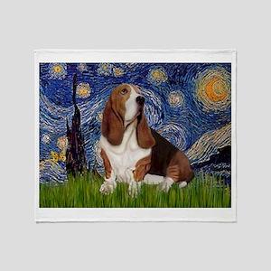 Starry Night & Basset Throw Blanket