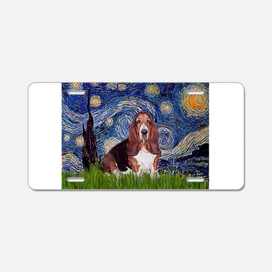 Starry / Basset Hound Aluminum License Plate