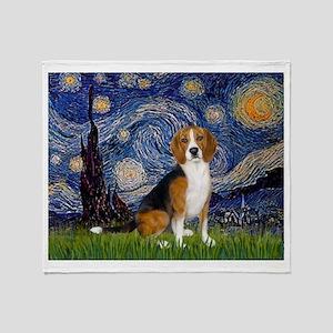 Starry Night & Beagle Throw Blanket