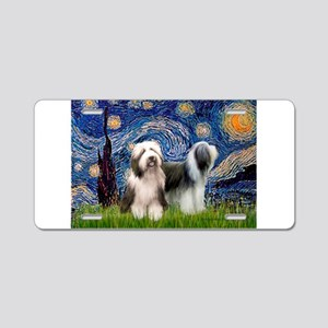 Starry / 2 Bearded Collies Aluminum License Plate