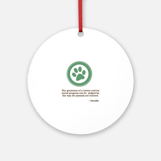 Gandhi Green Paw Ornament (Round)