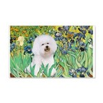 Irises and Bichon 20x12 Wall Decal