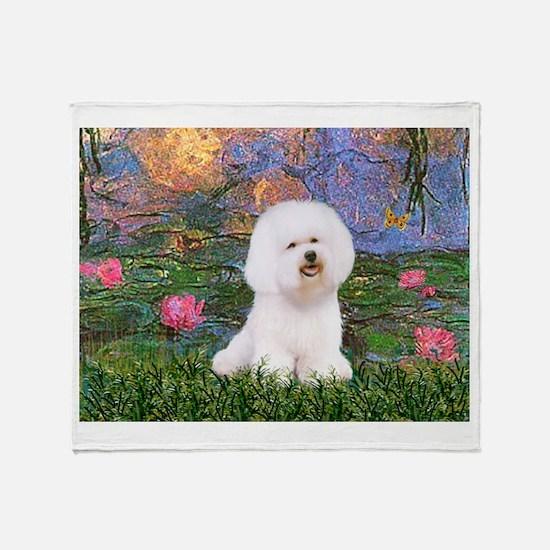 Lilies 4 / Bichon 1 Throw Blanket
