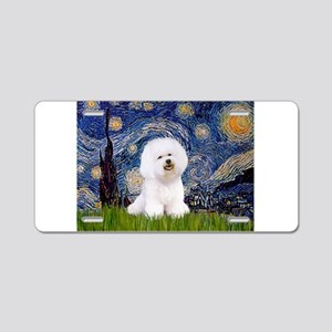 Starry Night Bichon Aluminum License Plate