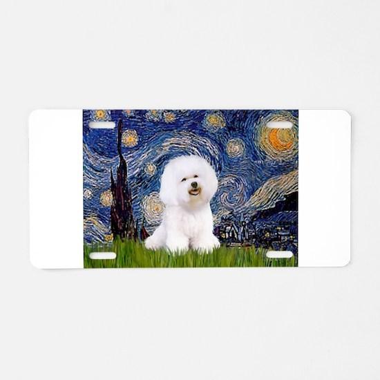 Starry Night Bichon Aluminum License Plate