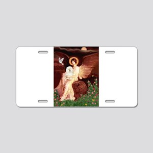 Seated Angel & Bolognese Aluminum License Plate
