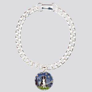 Starry Night Border Collie Charm Bracelet, One Cha